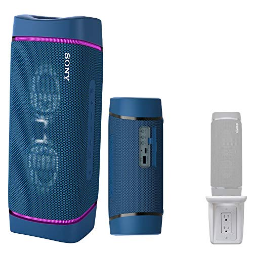 Sony SRSXB33 Extra BASS Bluetooth Wireless Portable Speaker (Blue) with Knox Gear Multipurpose Outlet Wall Shelf Bundle (2 Items)