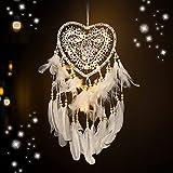 Acchiappasogni,Acchiappasogni Bianco con Luce LED,Indiano Fatto a mano Dream Catcher a forma di...