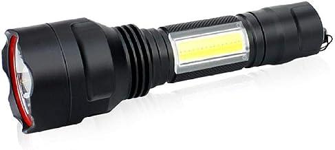 High Power LED-zaklamp,draagbare zaklamp oplaadbare waterdichte zaklampen 4 modus verlichting noodlamp -zwart