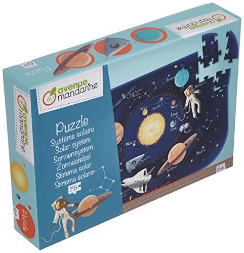 Avenue Mandarine PU017C Puzzle XXL (76 Teile, mit Poster, ideal für Kinder ab 6 Jahren) 1 Stück, Sonnensystem