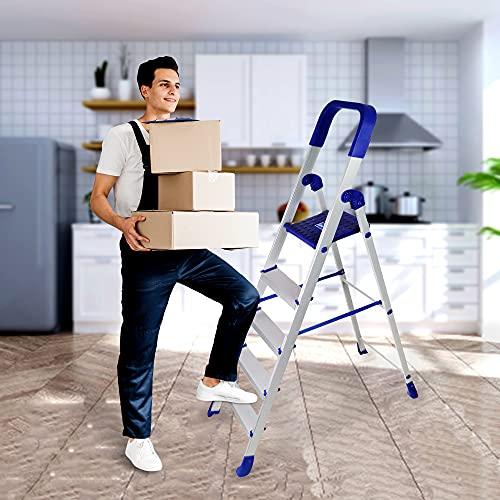 CIPLA PLAST High Strength Heavy Duty Multipurpose Folding Aluminium Finish Ladder with Platform - Home Pro 5 Steps (5 Years Warranty)