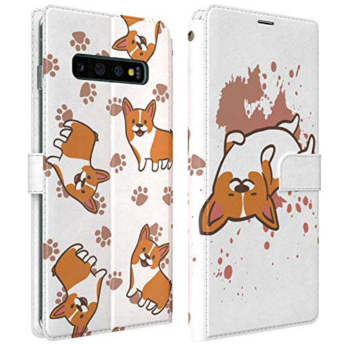 Mertak Wallet Case Compatible with Samsung Galaxy Note 20 Ultra 10 Plus S20 A70 S10 Corgi Funky Pets Flip Cover Card Holder Dog Slim Magnetic Art Paws Folio Animals Protective PU Leather Lightweight