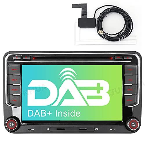 Junhua Built-in DAB+ Autolink 16GB Autoradio Navi für VW Golf 5 Plus 6 Passat B6 Polo 6R Skoda Fabia Seat Leon 7' DVD Player GPS Navigation 2 Din Radio Bluetooth USB Unterstützt RDS USB Kamera SWC SD