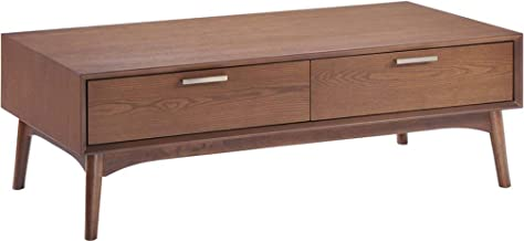 Zuo Modern 100091 Design District Coffee Table, Mid-Century Aesthetic, Clean Lines and Warm Walnut Tones, Beautiful Drawer...