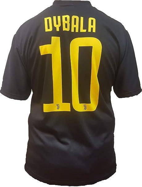 Juventus Terza Maglia Nera Dybala Numero 10 Replica Prodotto Ufficiale 2018/19 Autorizzato JJFC Bambino (Taglie 2 4 6 8 10 12) Adulto (SML XL) (Taglia