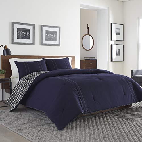 Eddie Bauer Home   Kingston Collection 216693 Kingston Reversible Comforter Set, Full/Queen, Navy, Full, Navy