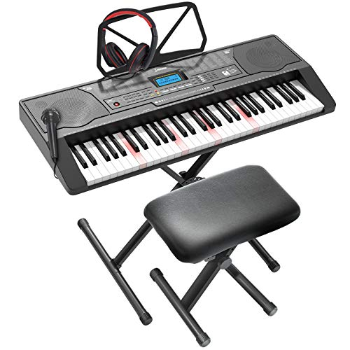 LAGRIMA LAG-450 61 Key Electric Keyboard Piano with Stand, Smart Light Up Keys for Beginner, Lighted Portable Keyboard w/Micphone, Power Supply, Music Stand, Adjustable Stool, Black