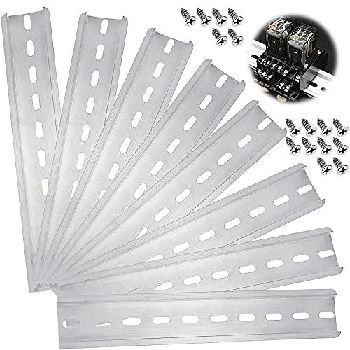 PLCatis Hutschiene 8 Stücke DIN-Schiene Silber Montageschiene 200mm Hängeschiene mit 16 Stücke Passenden Selbstschneidenden Edelstahlschrauben für Verteilerschrank Schaltschrank Einbau
