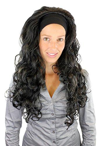 WIG ME UP ® - PW0101-P103 Perücke mit Stirnband Lockenpracht schwarz Latina