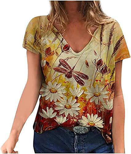 Tops de verano de talla grande para las mujeres Colorblock camiseta de manga corta blusa cuello en V estampado de libélula Tee