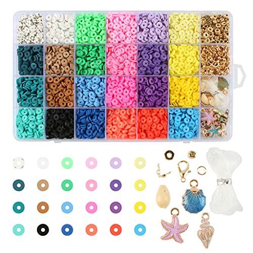 zhangaoyo Juego de cuentas espaciadoras de arcilla de polímero, redondas, planas, para hacer joyas, pulseras, collares, pendientes, kit de manualidades con colgante
