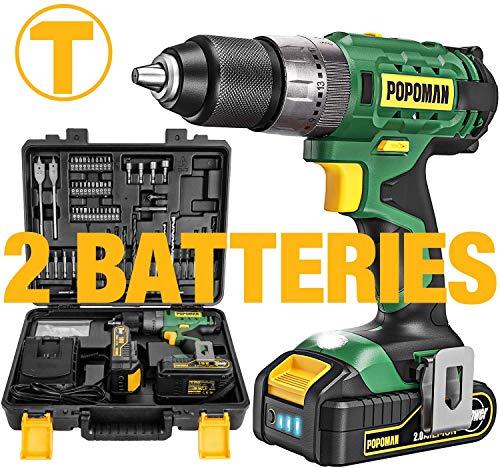 Avvitatore a Batteria 18V, Avvitatore a Percussione 60Nm,105 Accessori, 2 Batterie da 2,0 Ah, Velocità Variabile 0-400/0-1500 giri/min, 21+3 Coppie, con Valigetta Premium