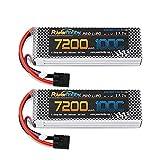 Powerhobby 3S 11.1V 7200MAH 100C lipo Battery w Genuine Plug (2) : Compatible with Traxxas E-Revo 2.0