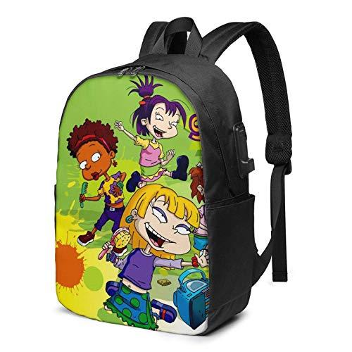 IUBBKI Bolsa para computadora mochila USB Men Women Packable Backpack with USB Charging Port, anti theft Multi-function Work Bag, Book Bags Daypack for Outdoor Hiking Travel, Cute Anime Rugrats-in-Par