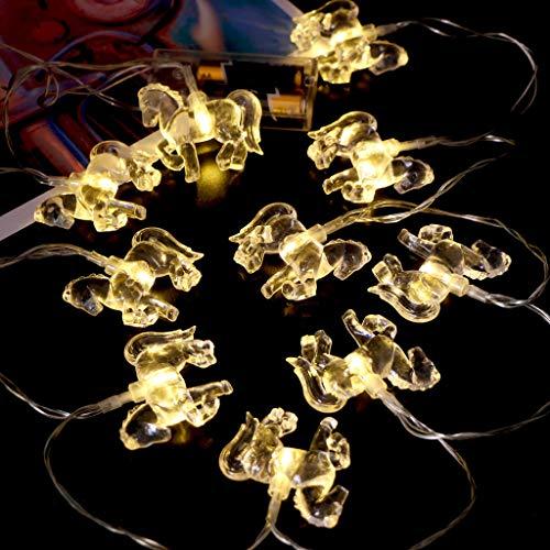 Luccase 10 LED Lichterketten Transparente Pferd Form LED Licht Laterne Lichterketten Kreative Dekorative Lichter mit Transparente Kabel, 1.65M (Gelb)