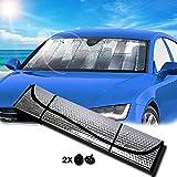 Walbox Parasole Auto Parabrezza, Parasole Per Auto Interno Pieghevole Con Elastici e Ventose, Coprisole Auto Contro i Raggi UV, Parasole Parabrezza, (130x60)