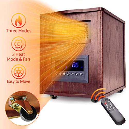TRUSTECH Infrared Heater – 1500W Space Heater w/Wheels 6 Carbon Tubes Stronger Heating Cabinet Heater w/59°-86°F Control Heater Infrared Space