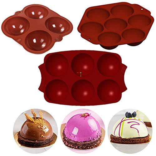 Molde de silicona para panecillos, Huai1988, molde de silicona para tartas, 4/6/7 unidades, forma semiesférica, agujero rectangular, silicona, molde para pan y galletas (rojo)