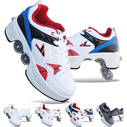 Phoneix Zapatos con Ruedas Zapatos De Skate para Mujeres, Hombres, Niños Zapatos con Ruedas para Niños Zapatillas con Ruedas, para Regalo De Principiantes Unisex,B-EU40/UK7