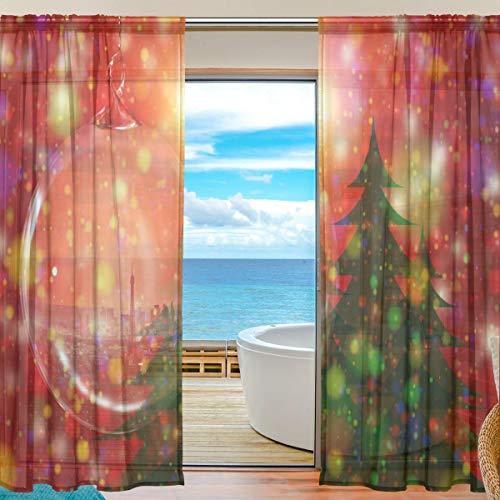 Socira Ball - Cortina de tul, diseño de árbol de Navidad, cortinas de tul, para ventana de sala de estar,...