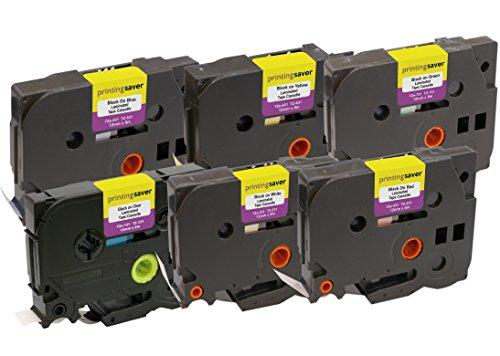 Pack de 6 Casetes TZe-131 231 431 531 631 731 12mm x 8m Cintas de Etiquetas compatible para Brother P-Touch PT-1000 1005 1010 9600 D200 D210 D600VP E100 E550WVP H101C H105 H110 H300 H500 P700 P750W
