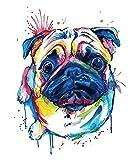 Agua Colores Tattoo perro carlino Multicolor Tattoo con colores pegar km134