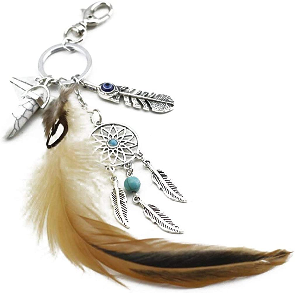 trust pulabo Dream Catcher Keyring Bohemian Max 77% OFF Turquoi Artificial Feather