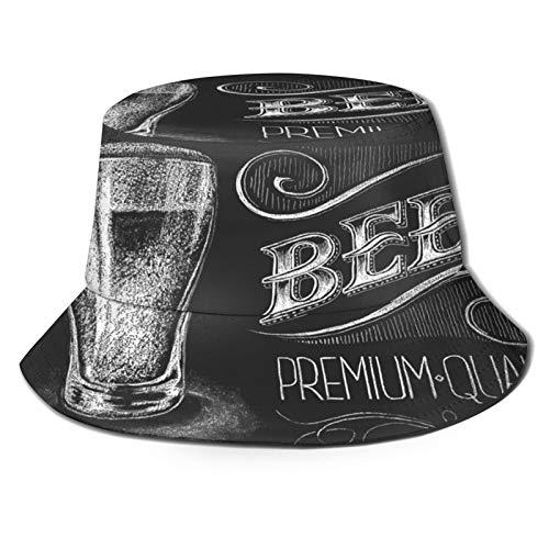 RUEMAT Unisexe Chapeau de Seau,Illustration vectorielle de Verre à bière Craie sur Tableau...