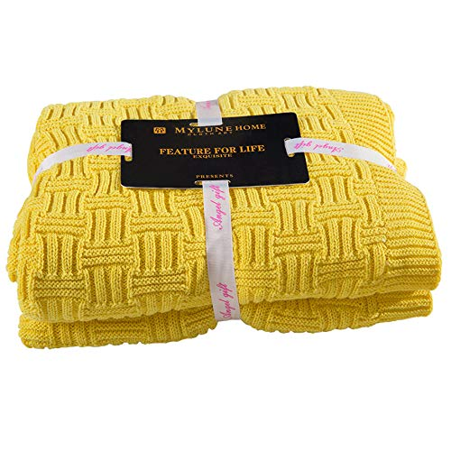 MYLUNE HOME 100% Baumwolle Stilvolle Strickdecke für Fernsehen oder Nap auf dem Stuhl, Sofa und Bet (120x180cm, Yellow)