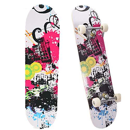 NUOLANDE Skaten, 4-Rad Professionelle Kinder Skateboard Für Jugendliche, Erwachsene, Geschick Skateboard-Doppel Kick Ahorn Skateboard Für Anfänger Jungen Und Mädchen