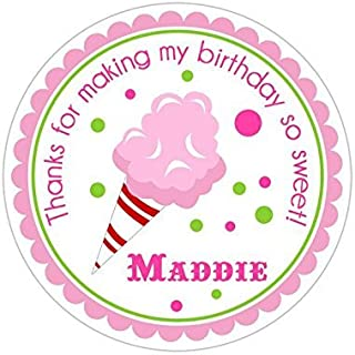 Personalized Customized Birthday Party Favor Thank You Stickers - Pink Cotton Candy - Round Labels - Choose Your Size