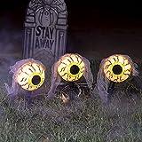 JOYIN 3 Pack Halloween Eyeball Pathway Marker Decoration, Eyeball Pathway Lights (Battery Powered) for Halloween Outdoor, Lawn, Yard, Patio Decoration, Halloween Haunted House Decorations