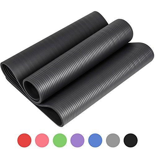 Reehut Tapis D'exercices de Yoga- 12 mm Très épais NBR Haute Densité, pour Pilates, Forme Physique et Entraînement, avec Sangle de Transport(Noir)