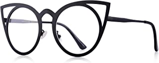 MERRY'S Cat Eye Sunglasses Round Metal Cut-Out Flash...