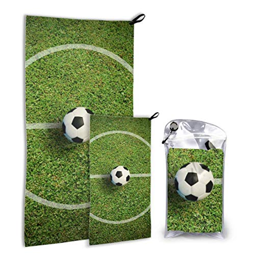 N\A Soccer Green Football Stadium 2 Pack Microfiber Kids Serviette Kids Serviette Set Fast Drying Best for Gym Travel Backpacking Yoga Fitnes