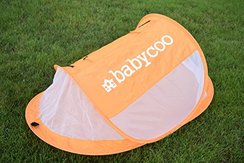 Baby tent, Pop-Up beach tent, Instant travel tent for baby, Protect from sun & bugs (Orange)
