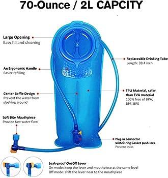 Unigear Poche Hydratation, sans BPA, Approuvé par la FDA Poche, Reservoir pour la randonnée, vélo, la randonnée et Le Camping