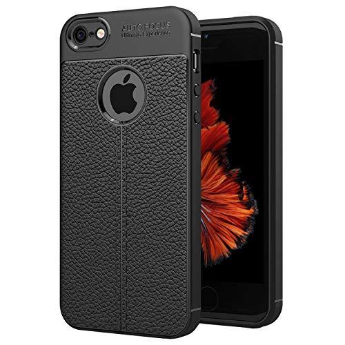 NEW'C Funda iPhone 5/5S/SE Funda Protectora con absorción de Impactos y Efecto de Cuero [Gel Silicona]