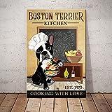 Boston Terrier Hund Küche Bauernhaus Schild Dekor