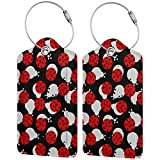 NiYoung Women Men Luggage Tags Unique Ladybugs Cartoon Cute Travel Bag Labels Cool Name Luggage Bag Tags Privacy Cover ID Label