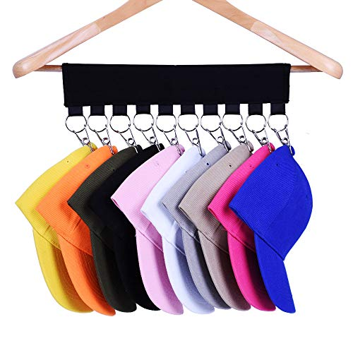 Hat Organizer Hanger, 10 Baseball Cap Holder, Hat Storage for Closet - Change Your Clothes Hanger to Ball Cap Organizer Hanger - Keep Your Hats Cleaner Than a Hat Rack - Great for Travel Use (2 Pack)