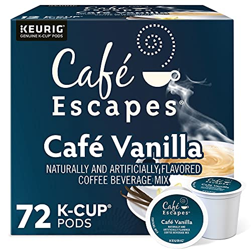 Cafe Escapes, Cafe Vanilla Coffee Beverage, Single-Serve Keurig K-Cup Pods