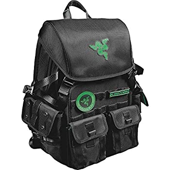 Mobile Edge Razer Tactical Pro 17 Inch Laptop Gaming Backpack Black Rugged Ballistic Material Padded Laptop Section Molle Pocket Front Water-resistant Hideaway Rain Cover RAZERBP17