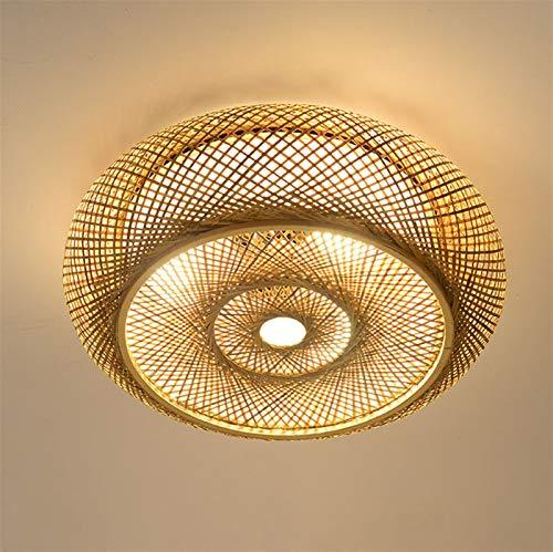 Deckenleuchte Bambus Handgewebte Natürlicher Rattan Pendellampe LED Deckenlamp, E27 Retro Rattan Lampe Licht Holz Beleuchtung ,Kreative Handmade Lampenschirm Für Restaurant ,Schlafzimmer, Arbeitszimme
