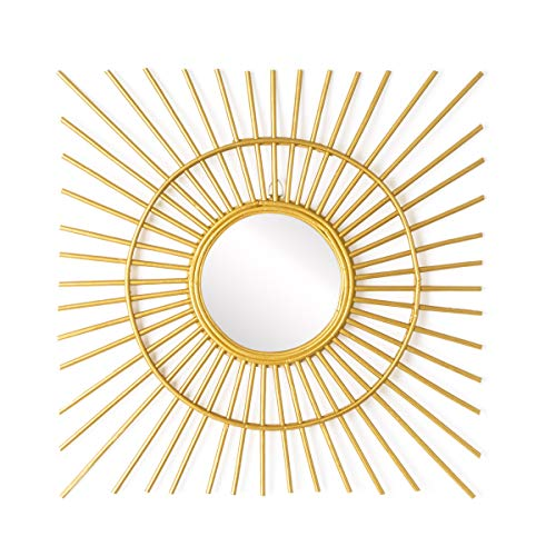 Espejo de pared decorativo redondo Gold Ra, ratán natural, estilo étnico & boho chic, nórdico, bonito y moderno, ligero, para pasillo baño o entrada, ratan, color dorado, 43x43x2 cm.