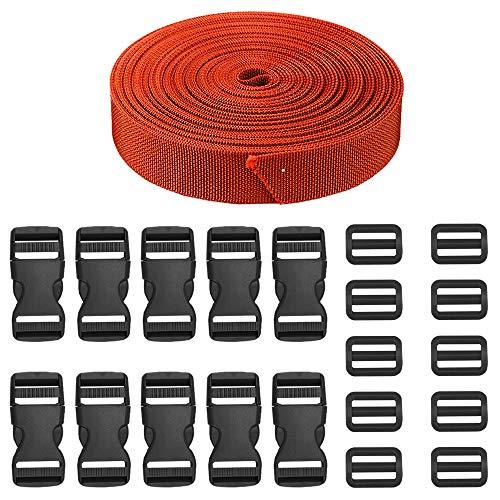 JETEDC(ジェットイデイシイ)Molle スーツケースベルト 荷崩れ防止 ベルト10セット 25mm×10m ワンタッチ式ロックプラスチックロック10個入り 荷締めベルト 作業用ベルト 調整可能 (濃いオレンジ)