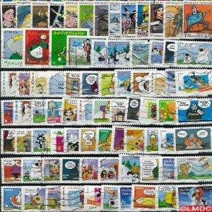 Collezione di 25 francobolli francesi, con timbro, motivo: cartoni animati