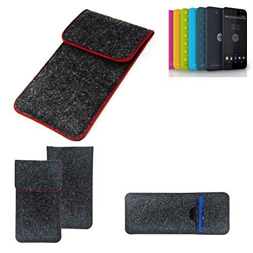 K-S-Trade® Handy Schutz Hülle Für Shift Shift4.2 Schutzhülle Handyhülle Filztasche Pouch Tasche Case Sleeve Filzhülle Dunkelgrau Roter Rand