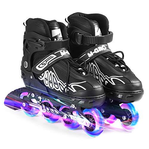 Lixada Inline Skates Verstellbare mit Beleuchteten Rädern Skates Outdoor Blades Rollschuhe für Kinder Jungen Mädchen