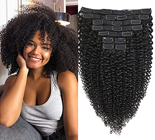 Rolisy Afro Kinky Curly Clip in Hair Extensions,8A Grade Brazilian Human Hair for Black Women, 3C 4A Real Remy Hair Natural Black, Soft Thick and Bouncy, Blends Well,Double Lace Wefts with 20 Clips,,125 Gram,16 Inch